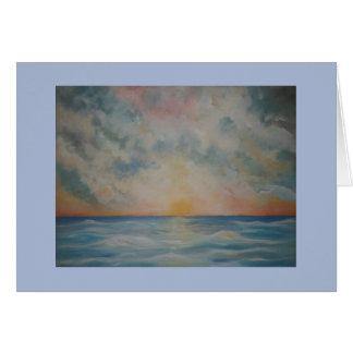 Schöner Sonnenuntergang über dem Ozean notecard Karte