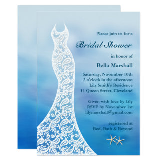 Schöner Strand-BrautpartyWatercolor - Blau Karte