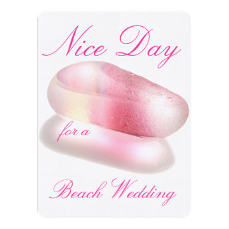 Schöner Tag für eine Strand-Hochzeit - Rosa 16,5 X 22,2 Cm Einladungskarte