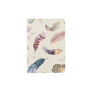 Schönes Aquarell versieht Muster mit Federn Passhülle