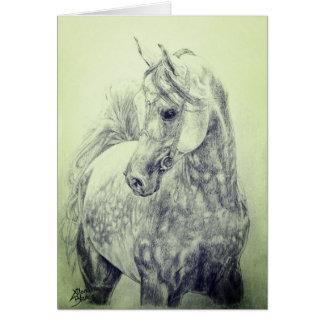 Schönes arabisches Pferd - Hand gezeichnet Karte