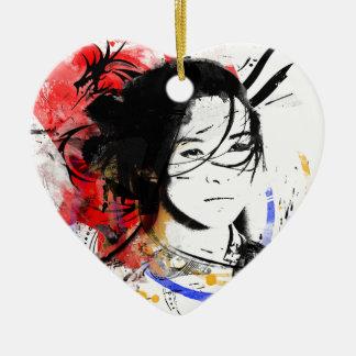 Schönes asiatisches Mädchen Keramik Herz-Ornament