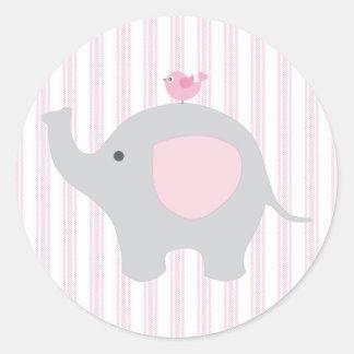 Schönes Baby-rosa Elefant Runder Aufkleber