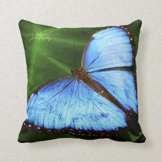 Schönes blaues Schmetterlings-Wurfs-Kissen Kissen