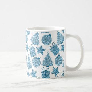 Schönes blaues und weißes Weihnachten Kaffeetasse