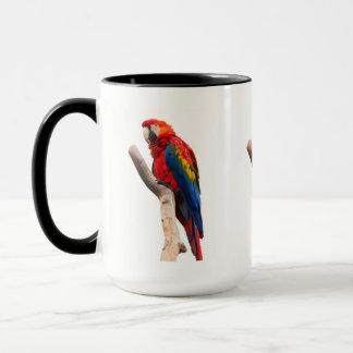 Schönes buntes Scharlachrot Macaw-Papageien-Vogel- Tasse