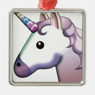 Schönes Einhorn Emoji Silbernes Ornament