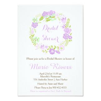 Schönes lila Blumenwreath-Brautparty 12,7 X 17,8 Cm Einladungskarte