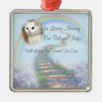 Schönes personalisiertes Katzen-oder Hundedenkmal Quadratisches Silberfarbenes Ornament