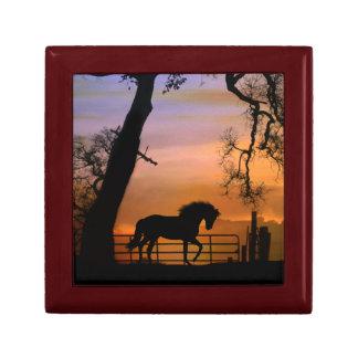 Schönes Pferd mit Land-Zaun-Fliesen-Kasten Erinnerungskiste