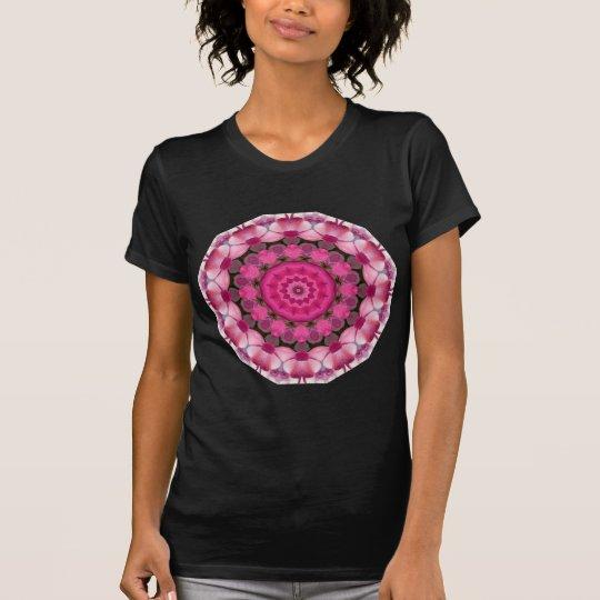 Schönes Rosa blüht 001F 01, Natur-Mandala T-Shirt