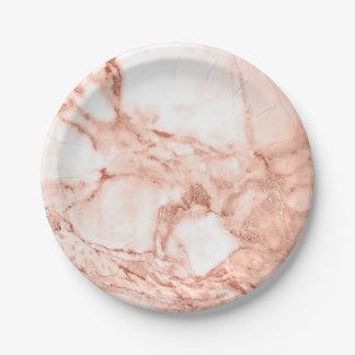 Schönes Rosen-Goldschein-Marmor-Muster Pappteller