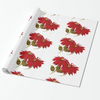Schönes rotes Poinsettia-Zeichnen Einpackpapier