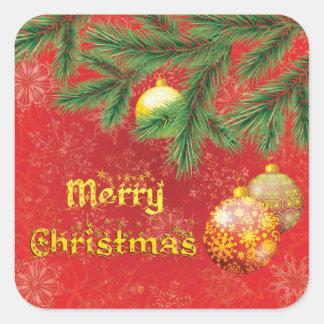 Schönes rotes Weihnachten inspiriert Quadratischer Aufkleber