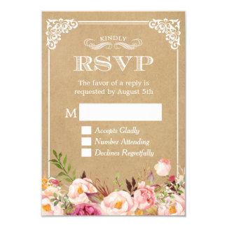 Schönes rustikales Blumenelegantes Hochzeit 8,9 X 12,7 Cm Einladungskarte