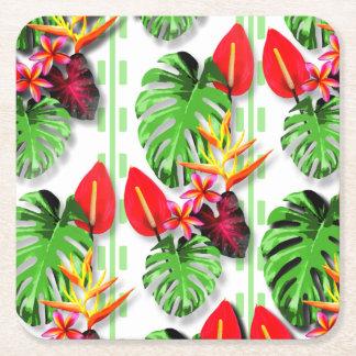 Schönes Trendy tropisches Blatt-Blumen-Thema Rechteckiger Pappuntersetzer