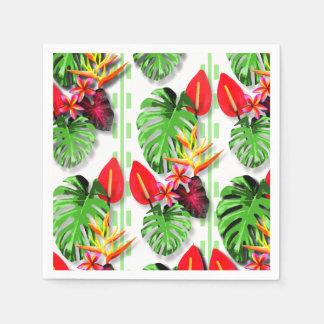 Schönes Trendy tropisches Blatt-Blumen-Thema Serviette