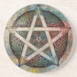 Schönes und buntes heidnisches Pentagramm Getränkeuntersetzer