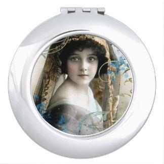 Schönes viktorianisches Mädchen-Vintage Taschenspiegel