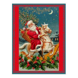 Schönes Vintages Weihnachtsklassische Retro Karte Postkarte