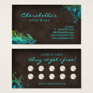Schönheits-Salon-Blumenloyalitäts-Karten-blaues Visitenkarte