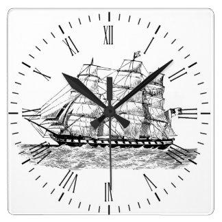 Schooner auf Uhr - Segeln-Schiff auf Uhr