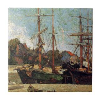 Schooner und drei Meister durch Paul Gauguin Fliese