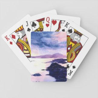 Schottische Loch-lila Wasserfarbe-Spielkarten Spielkarten