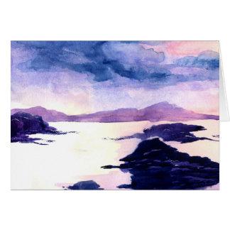 Schottische Loch-Wasserfarbe-Malerei-Gruß-Karte Karte