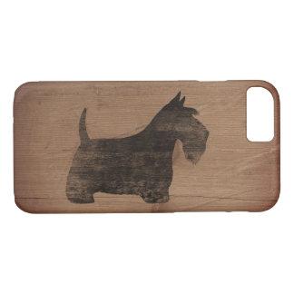 Schottische Terrier-Silhouette rustikal iPhone 8/7 Hülle