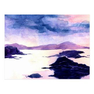 Schottische Wasserfarbe-lila Landschaftspostkarte Postkarte