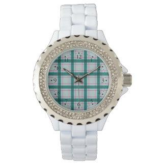 Schottischer roter grüner weißer Tartan Uhr