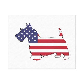 "Schottischer Terrier - ""amerikanische Flagge "" Leinwanddruck"