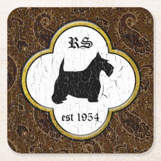 Schottischer Terrier Vintages Paisley Rechteckiger Pappuntersetzer
