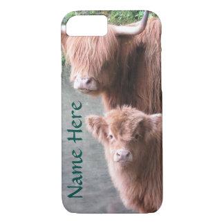 Schottisches Hochland-Vieh, Kuh und Kalb iPhone 8/7 Hülle