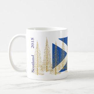 Schottland-Flaggen-Goldweihnachtsbaum-Tasse Kaffeetasse