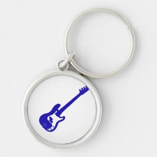 schräg gelegene blaue Grafik der Bass-Gitarre Schlüsselanhänger