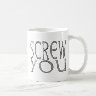 Schrauben Sie Sie mit Schrauben Kaffeetasse