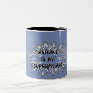 Schreiben ist meine Supermacht Zweifarbige Tasse