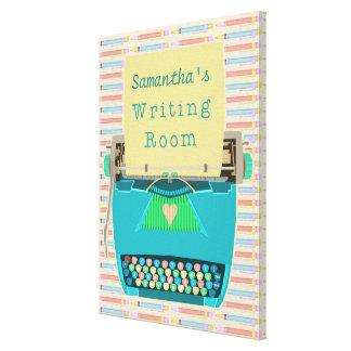 Schreibmaschinen-Schreibens-Raum-Autorn-Name-Blau Leinwanddruck