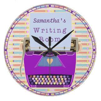 Schreibmaschinen-Schreibens-Raum-personalisierter Große Wanduhr