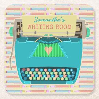 Schreibmaschinen-schreibt Retro Schreibens-Raum Kartonuntersetzer Quadrat
