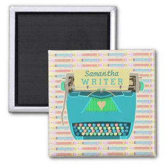Schreibmaschinen-Verfasser-Retro Mitte- des Quadratischer Magnet