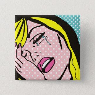 Schreie ich ein Fluss-Pop-Kunst-Knopf Quadratischer Button 5,1 Cm