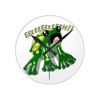 Schreiender Frosch-Gekritzel-Nudel-Entwurf Runde Wanduhr