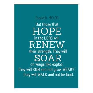 Schrift der Bibel-Isaiah-40-31 Postkarte