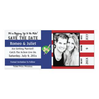 Schritt zum Platten-Baseball, der Save the Date 10,2 X 23,5 Cm Einladungskarte