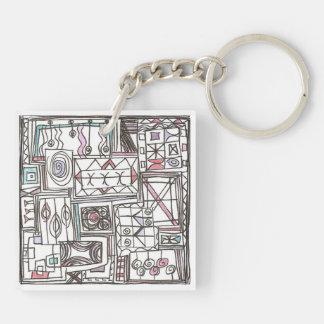 Schrullig-Wunderliches geometrisches abstraktes Schlüsselanhänger
