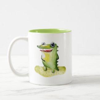 Schrulliger Aquarell-Alligator sammelbar Zweifarbige Tasse