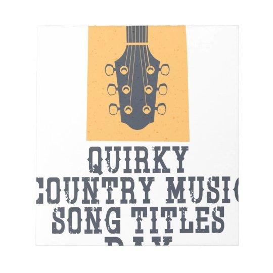 Schrulliges Countrymusik-Lied betitelt Tag Notizblock